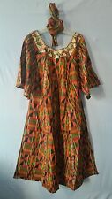 New Women's African Kente Print Maxi Dress Kaftan Free Size Orange Maroon Green