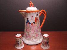 Vintage Japanese Geisha Girls Porcelain Chocolate Pot with Matching Salt and Pep