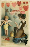 Vaentine -Unsigned Clapsaddle? Beautiful Woman Cupid Hearts Postcard
