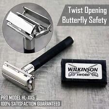Papillon Sécurité Rasoir & 5 Wilkinson Double Bord Lames Classique Rasage