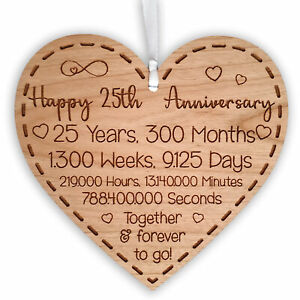 25th Wedding Anniversary Gift for Husband Wife or Partner Heart Hanging Keepsake