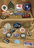 30 Pc Vintage & More Lot Belt Buckles Patches Key Rings Pins Buttons Cufflinks