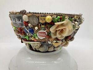 Mid Century Vintage MEMORY Vase FOLK Art Vintage Jewelry Tramp Art
