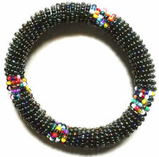 Ethnic Handmade Beaded Tribal Black Beaded Bracelet African Kenyan Gift Art Boho