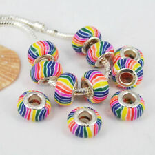 50pc Rainbow Fimo Polymer Clay Big Hole European Beads Spacer Fit Charm Bracelet