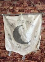 Pottery Barn Kids Over the Moon Flag Ivory Gray