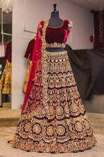 Red indian designer Lehenga Choli velvet lengha net Dupatta wedding wear dresses