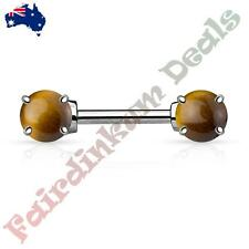 Nipple Barbell with Prong Set Semi Precious Tiger Eye Stone Ends