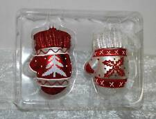 """Red & White MITTENS"" Blown MERCURY GLASS Christmas Ornaments STOREHOUSE New"