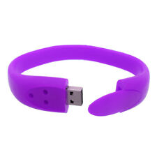 Rubber 32GB USB Memory Stick Thumb Drive Wrist Band Bracelet Purple