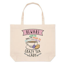 Beware Crazy Tea Lady Large Beach Tote Bag Mum Mothers Day Girlfriend British
