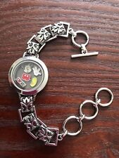 Round Floating Living Memory Glass Locket Bracelet Mickey Charms