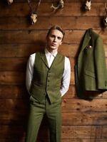 Men's Olive Green Woolen 3 Piece Tweed Suit Mix Jacket/Waistcoat/ Pants Tailored