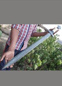 Bladesmith New Custom Handmade Damascus Steel Viking Sword with Bone Handle