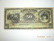 Mexican Revolution Banco de Sonora 50 Pesos Banknote Peso Mexico Currency Money