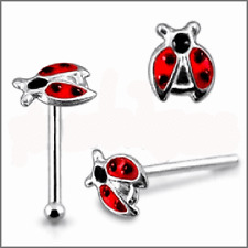 925 Sterling Silver Ball End Nose Stud with Flying Lady Bug / beetle Top