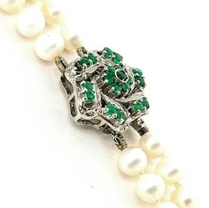 DOUBLE STRAND CULTIVATED FRESH WATER PEARLS 18K CLASP and APPLE GREEN EMERALDS