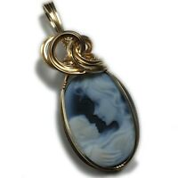 Cameo Pendant 14K Gold Filled - Mother and Child Jewelry w/ Necklace 1825G3-6 Z