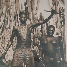 Original Vintage African Nigeria PHOTO BLACK MAN & WOMAN 'native' Early 20th C