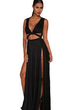 Red or Black Party Plunge Maxi Dress with Split Sides One Size UK8-10