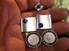 "EXCELLENT PAIR OF VTG SILVER TONED FOSTER CUFFLINKS, + SARAH COVENTRY ""FULL SET"""