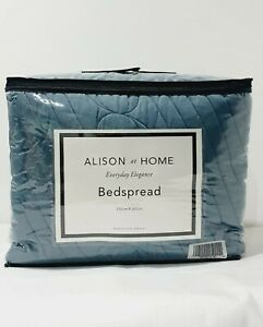 Alison Cork At Home Matte Satin Quilted Bedspread 260cm X 250cm Green
