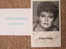 Elaine Paige - real signed B/W postcard size photograph + compliment slip. 1980s