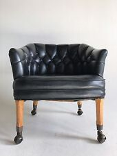 Vintage Faux Black Leather Danish Clam Egg Lounge Chair Arm Atomic Mid Century