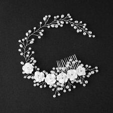 Bridal Flowers Hair Comb Faux Pearl Wedding Girl Tiara Floral Headdress Headband