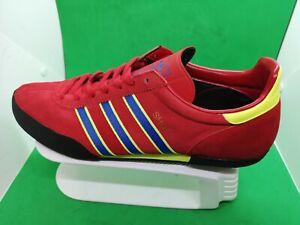 Vintage RARE🔥 Adidas Originals Shot Red Suede Yellow Blue Size 13 Men's Shoes
