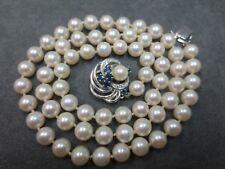 "Vtg 8mm Salt Water Pearl Necklace w/ 14K W. Gold Diamond Sapphire Clasp / 25.5"""