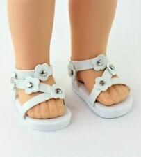 "White Flower Sandals Fits 14.5"" Wellie Wisher American Girl Doll Shoes"