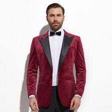 2020 Burgundy Velvet Diner Jacket Custom Made Slim Fit Dark Red Velvet Blazer
