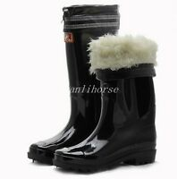 New Mens Black Warm Lined Waterproof Winter Snow Rain Boots Riding Casual Shoes
