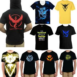 Pokemon Go Team Valor Mystic Instinct Men's Casual Tops Blouse Casual T-shirt