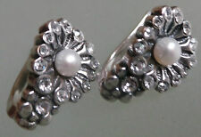 made in Russia earrings lever back  REAL PEARLS  NEW silver plate cluster