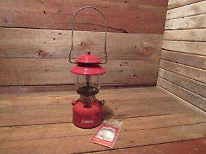 Vintage 10/63 Red Coleman Single Mantle Gas Lantern Model 200A w/ Coleman Globe