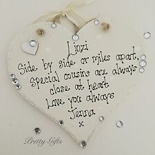 Personalised Sparkly Heart Plaque Friend Mum Nan Auntie Cousin Keepsake Gift