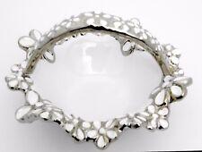 Elegant ceramic silver & white flower basket/ Gift / Home decorative