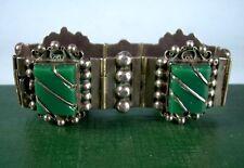 1950's Sterling Silver & Green Glass Bracelet Signed Fnb, Great Patina, 48g