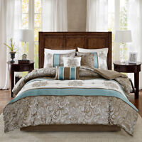 BEAUTIFUL 7 PC CHIC BLUE BROWN TAUPE TEAL BEIGE IVORY WHITE SCROLL COMFORTER SET