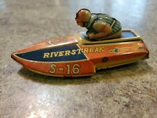 RARE Vintage 1950s Hadson Riverstreak S-16 Tin Speed Racing Boat w Driver Japan