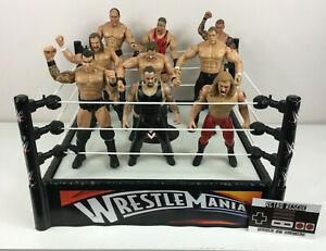 WWE Wrestlemania Ring + Action Figure Toy Bundle x9 Edge Undertaker HHH WWF Kids