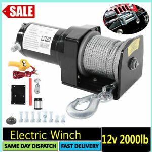 Electric Recovery Winch12v 2000lb Heavy Duty Cable Rope ~ Car Truck Boat Trailer