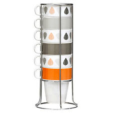 Set Of 6 Orange Leaves 300ml Stackable Mugs With Chrome Stand Tea Coffee Latte