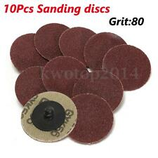 "10Pcs 80 Grit 2"" (50mm) Sanding Discs Roloc Type R Roll Lock Abrasive"