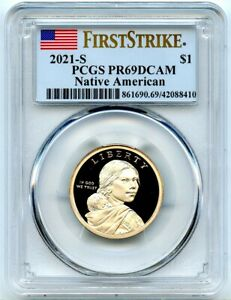 2021-S Proof Sacagawea Dollar, PCGS PR-69 DCAM First Strike, Nice Big Flash!