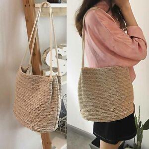 Summer Ladies Straw Bag Rattan Wicker Crossbody Shoulder Handbag Beach Tote