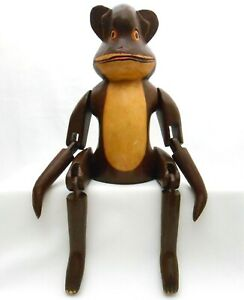 BALINESE VINT LARGE HAND CARVED HAND PAINTED HINGED WOODEN MONKEY KINETIC FIGURE