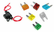New In line Mini Blade fuse holder with 6 fuses  splash proof, 12V, Car, bike UK
